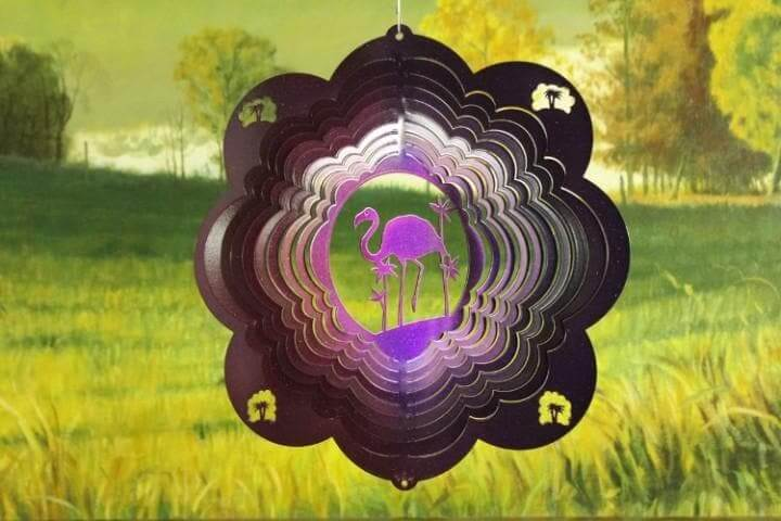 "12"" Purple Flamingo Wind Spinner - The House of Awareness"