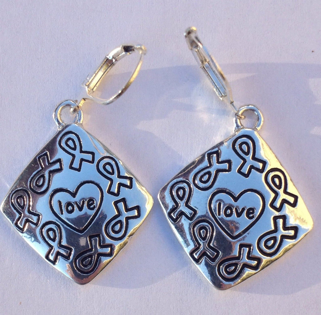 Love Ribbon Charm Earrings for Causes - The House of Awareness