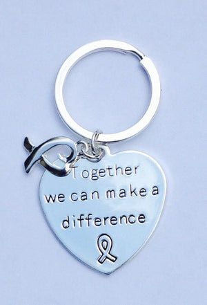 "Key chain with words ""Together We Can Make a Difference"" with Ribbon Heart Charm for Causes - The House of Awareness"