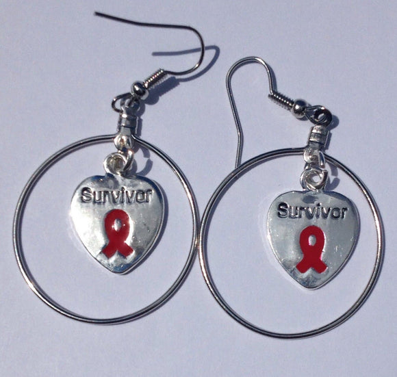 Survivor Charm Large Hoop Earrings For Causes - The House of Awareness