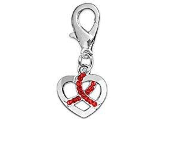 Crystal Red Ribbon Silver Heart Hanging Charm for Causes