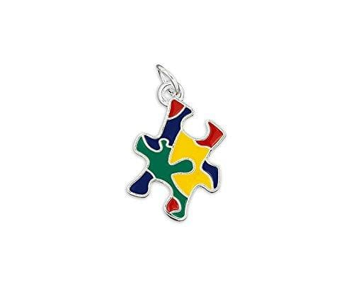 Colored Puzzle Piece Autism Charm - The House of Awareness