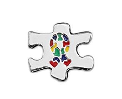 Puzzle Piece With Autism Awareness Ribbon Pins - The House of Awareness