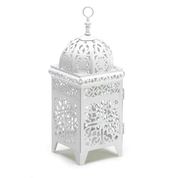 White Scrollwork Candle Lantern - The House of Awareness