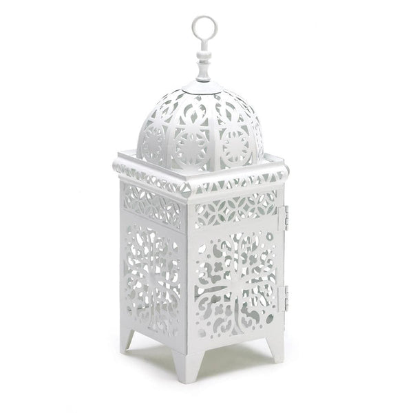White Scrollwork Candle Lantern , Moroccan Candleholders - Home Locomotion, The House of Awareness