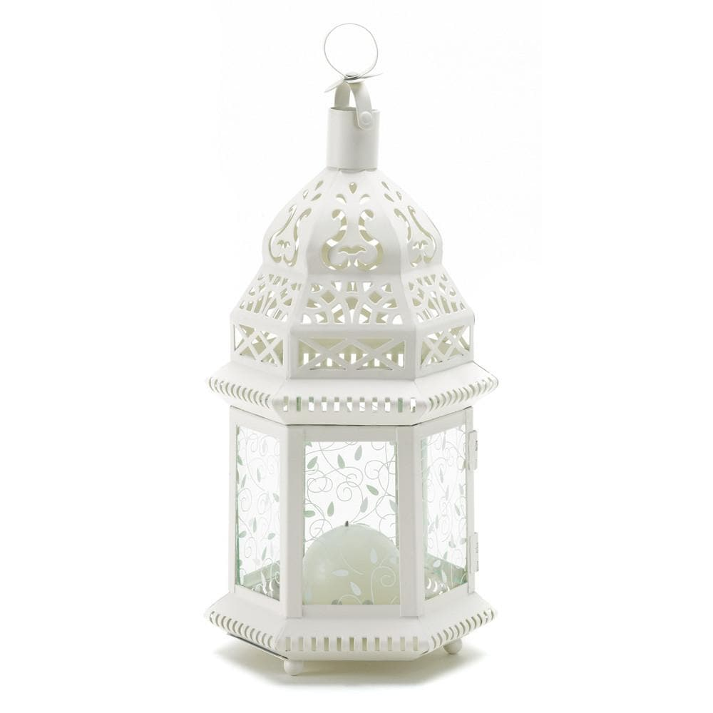 White Moroccan Lantern with Etched Panels - The House of Awareness