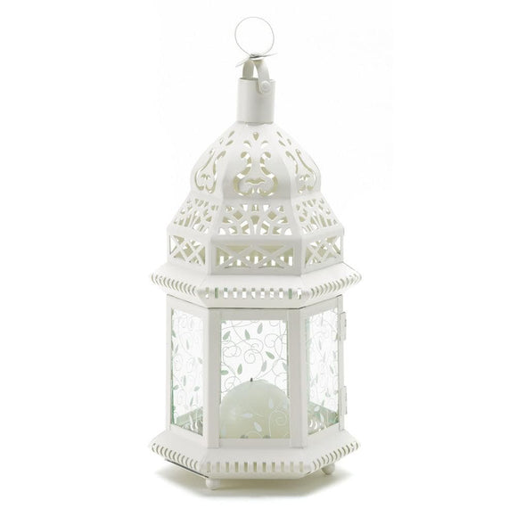 White Moroccan Lantern with Etched Panels , Moroccan Candleholders - Home Locomotion, The House of Awareness