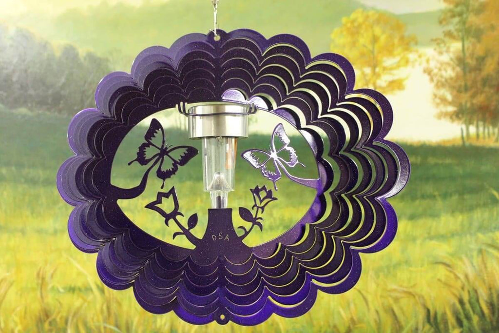 "12"" Solar Light 3D Purple Butterfly Wind Spinner - The House of Awareness"