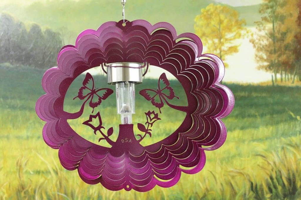 "12"" Solar Light 3D Raspberry Butterfly Wind Spinner - The House of Awareness"