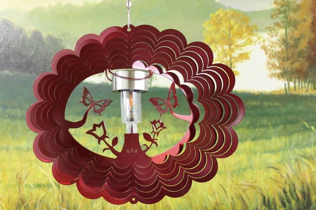 "12"" Solar Light 3D Red Butterfly Wind Spinner - The House of Awareness"