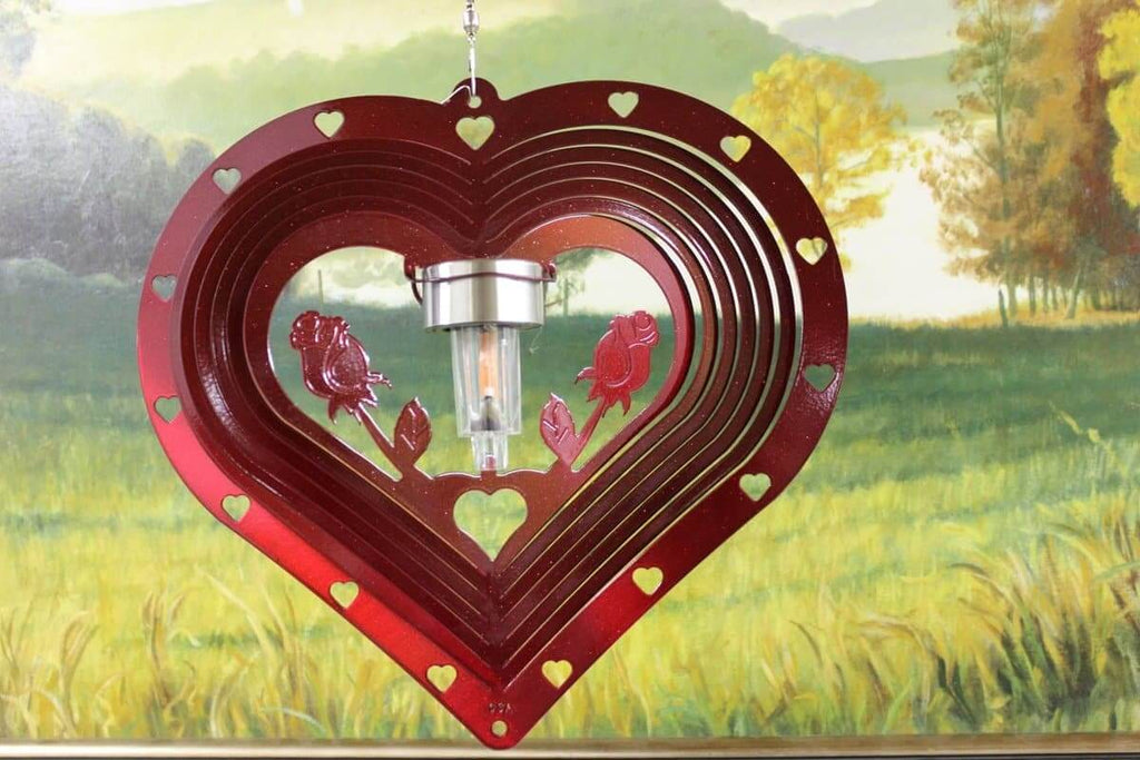 "12"" Solar Light Red Heart and Roses Wind Spinner"