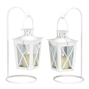 White Railroad Candle Lanterns - The House of Awareness