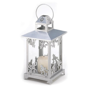 Silver Scrollwork Candle Lantern - The House of Awareness