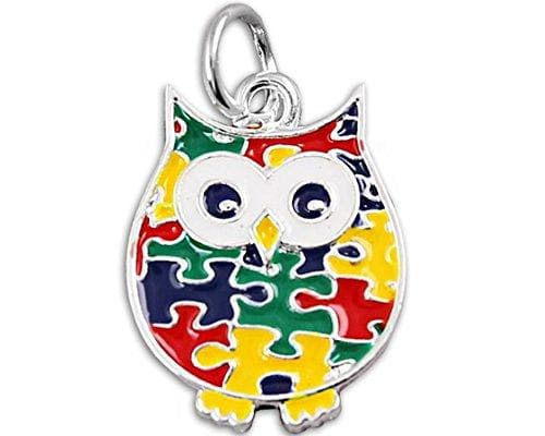 Autism Puzzle Piece Owl Charm - The House of Awareness