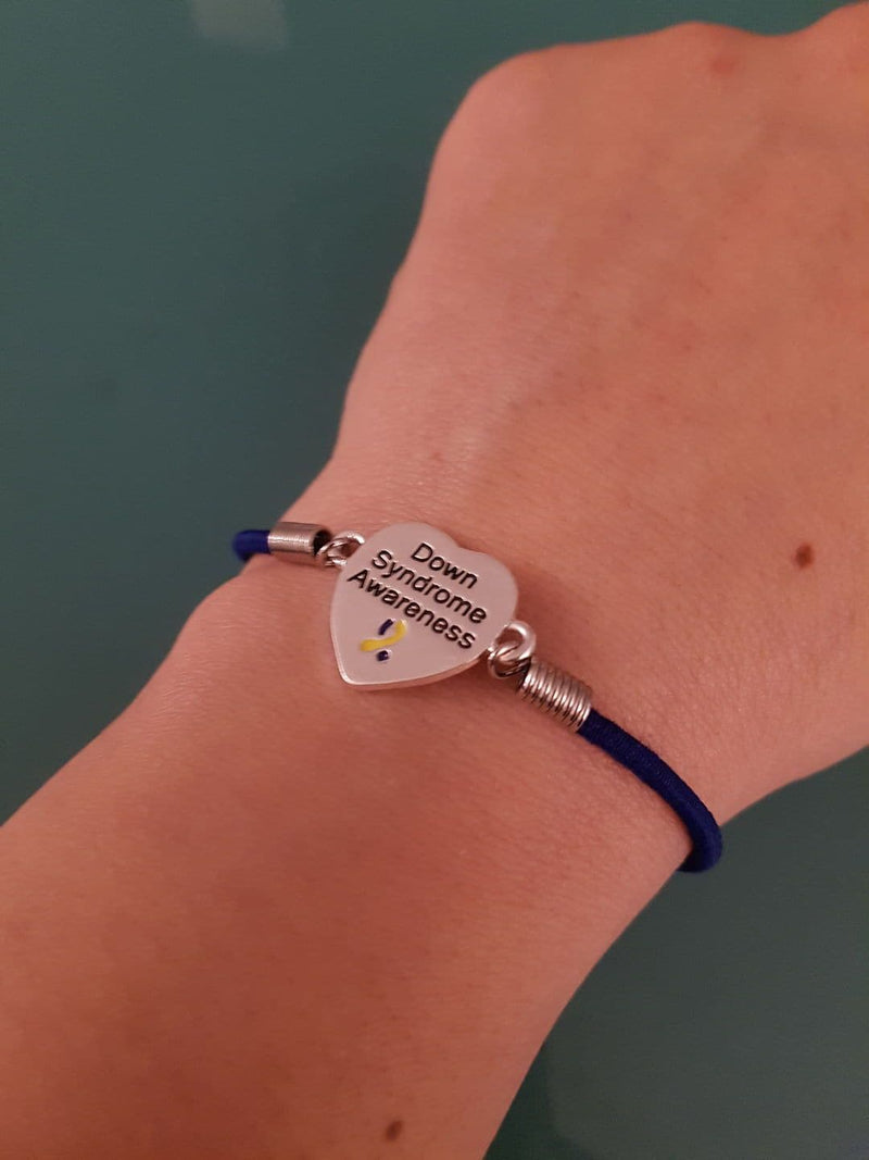 Down Syndrome Awareness Heart Stretch Bracelet