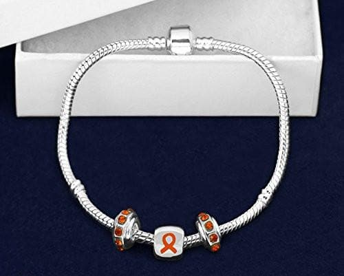 Orange Ribbon Chunky Charm Awareness Bracelet for Causes - The House of Awareness