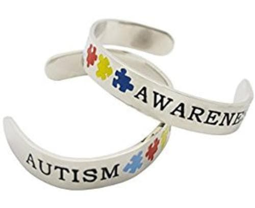 Autism Silver Cuff Bracelet , Women - Jewelry - Bracelets - The House of Awareness, The House of Awareness  - 1