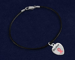 Survivor Pink Ribbon Heart Charm on Black Cord Bracelet for Cancer - The House of Awareness