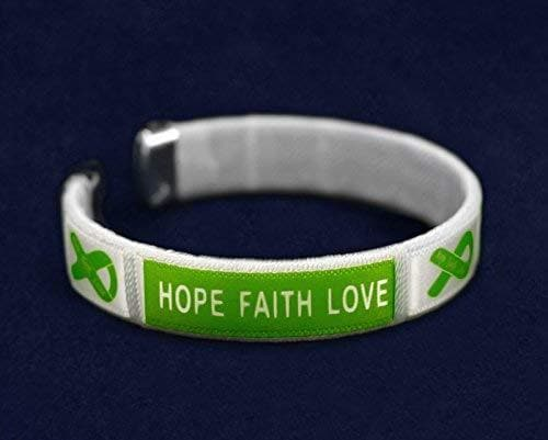 Mental Health Awareness Green Ribbon Fabric Bangle Bracelet - Hope, Faith, Love - The House of Awareness