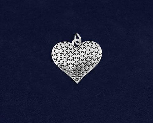 Autism Silver Puzzle Heart Charm - The House of Awareness