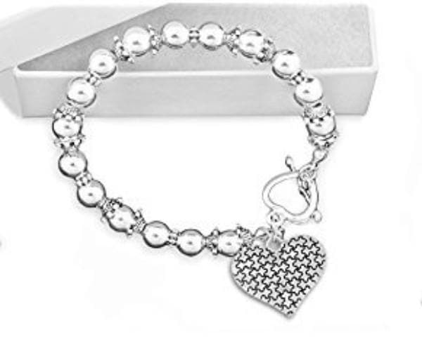 Puzzle Piece Heart Beaded Bracelet for Autism Awareness - The House of Awareness