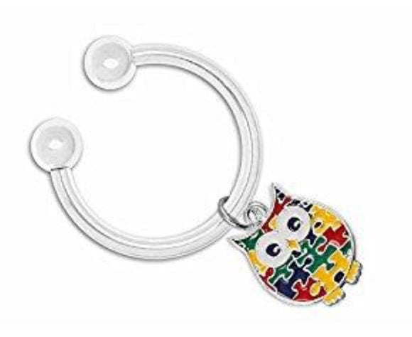 Autism Owl Puzzle Piece Key Chain