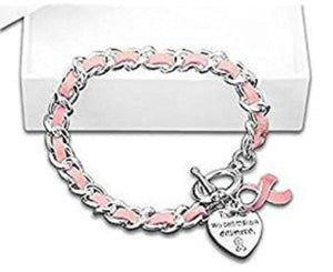 Breast Cancer Awareness Leather Rope Pink Ribbon Charm Bracelet - The House of Awareness