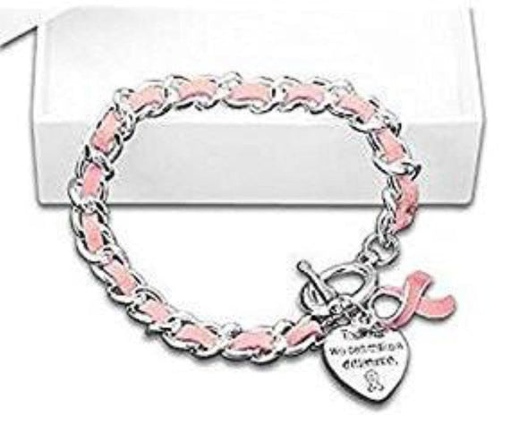Breast Cancer Awareness Leather Rope Pink Ribbon Charm Bracelet , Charms & Charm Bracelets - The House of Awareness, The House of Awareness  - 1