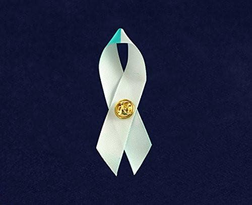 Teal & White Cancer Awareness Ribbon Pin - The House of Awareness