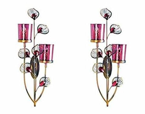 Pair of Pink Peacock Wall Sconces