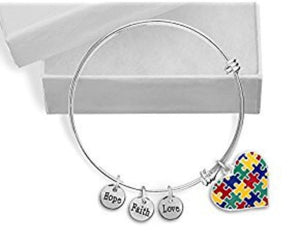 Autism Puzzle Piece Heart Multicolor Charm Bracelet - The House of Awareness