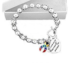 I Love You to the Moon and Back Ribbon Bead Bracelet for Autism - The House of Awareness