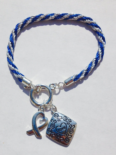 Awareness Causes SUPPORT BLUE Rope Bracelet Puzzle Ribbon and Charm , Bracelets - The House of Awareness, The House of Awareness  - 4