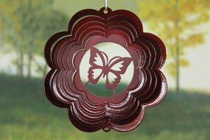 "4"" Red Scalloped Mini Butterfly Wind Spinner"