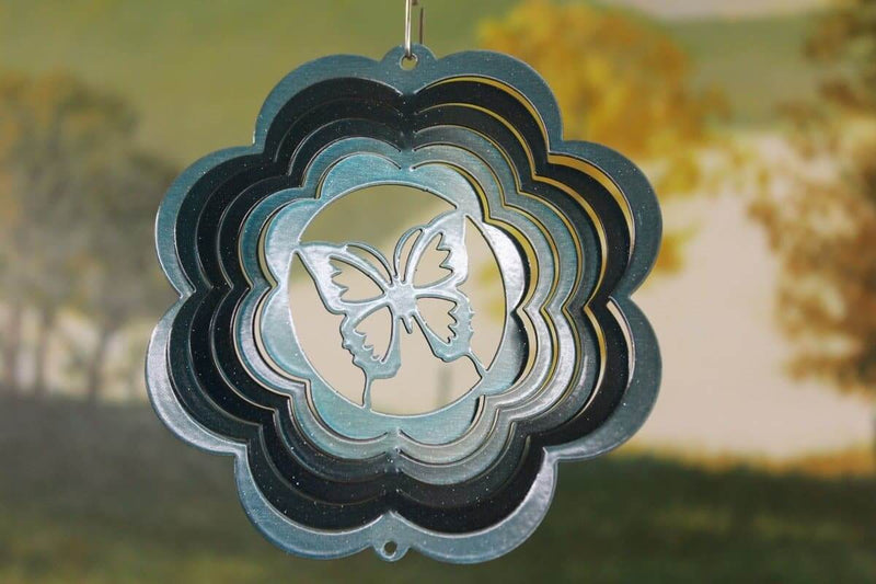 "4"" Teal Scalloped Mini Butterfly Wind Spinner"