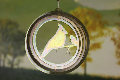 "4"" Yellow Zinc Round Mini Cardinal Wind Spinner - The House of Awareness"