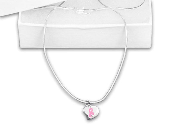 Breast Cancer Awareness Puffed Heart Charm Pink Ribbon Necklace - The House of Awareness