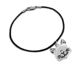 Large Cat Face Charm on Black Cord Bracelet - The House of Awareness