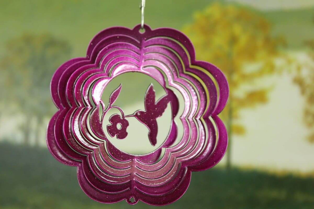 "4"" Raspberry Mini Hummingbird Wind Spinner - The House of Awareness"
