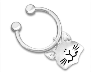 Small Cat Face Charm Key Chain - The House of Awareness