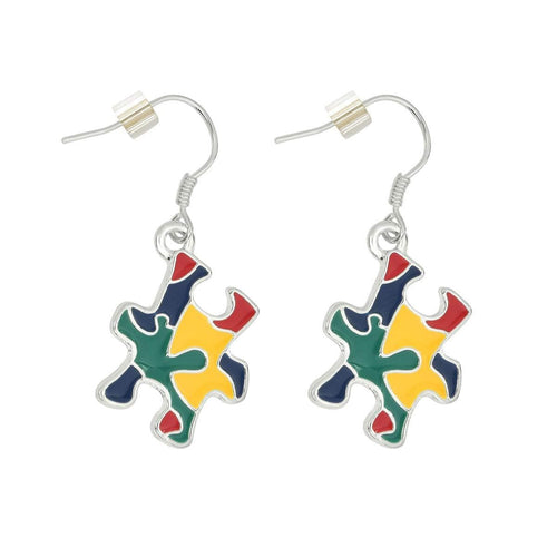 Hanging Autism Colored Puzzle Piece Earrings - The House of Awareness