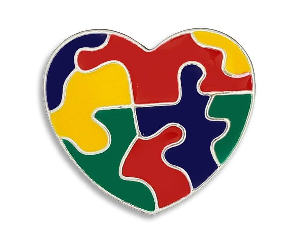Autism Colored Puzzle Piece Heart Pin - The House of Awareness