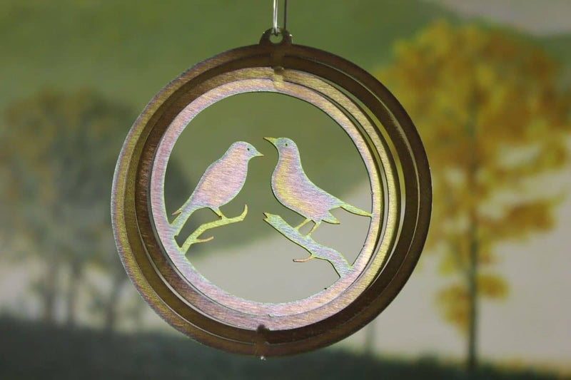 "4"" Yellow Zinc Round Mini Lovebird Wind Spinner - The House of Awareness"