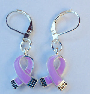 Purple Charm Earrings for many Causes - The House of Awareness