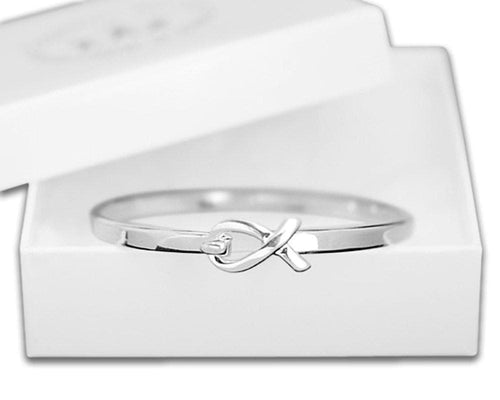 Elegant Silver Ribbon Bracelet for Awareness of all Causes - The House of Awareness
