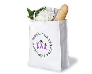 Alzheimers, Epilepsy, ADHD Awareness Grocery Purple Ribbon Tote Bag - The House of Awareness