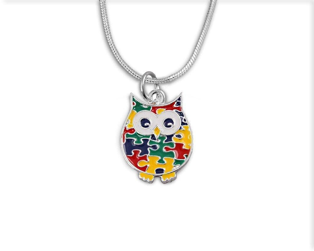 Autism Owl Puzzle Piece Necklace with a Box - The House of Awareness
