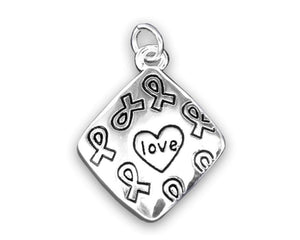 Square Love Charm Necklace for Mental Health Awareness - The House of Awareness