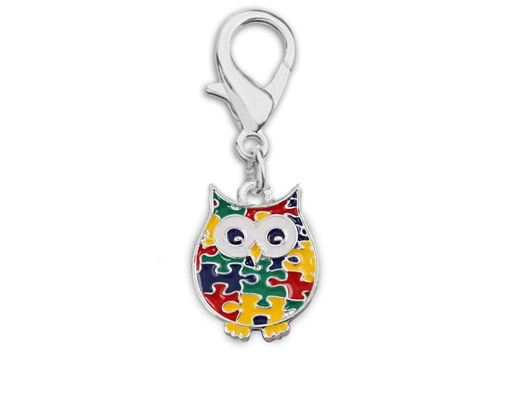 Autism Owl Puzzle Piece Hanging Charm - The House of Awareness