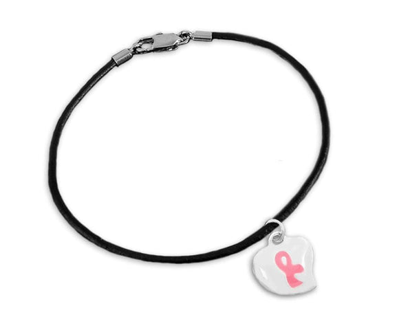 Breast Cancer Puffed Heart Pink Ribbon Charm Bracelet - The House of Awareness